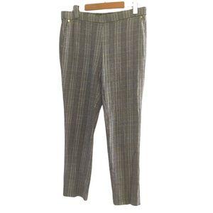 Anne Klein plaid print pull on cropped pants siz